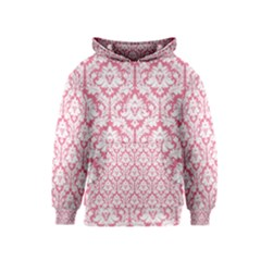 White On Soft Pink Damask Kids  Pullover Hoodie by Zandiepants