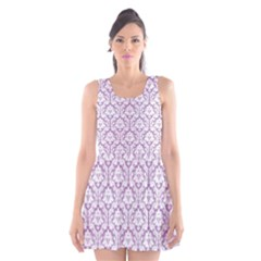Lilac Damask Pattern Scoop Neck Skater Dress by Zandiepants