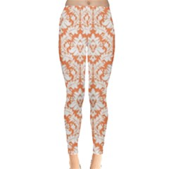 Nectarine Orange Damask Pattern Leggings  by Zandiepants