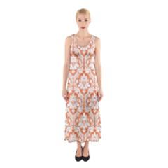Nectarine Orange Damask Pattern Sleeveless Maxi Dress by Zandiepants
