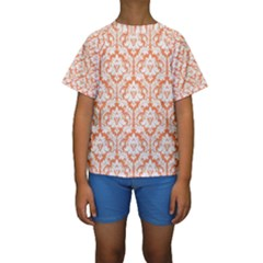White On Orange Damask Kid s Short Sleeve Swimwear by Zandiepants
