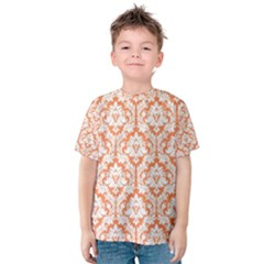 White On Orange Damask Kid s Cotton Tee by Zandiepants