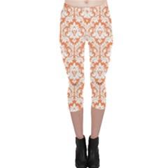 Nectarine Orange Damask Pattern Capri Leggings  by Zandiepants