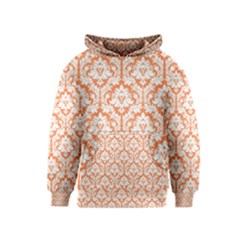 White On Orange Damask Kids  Pullover Hoodie by Zandiepants