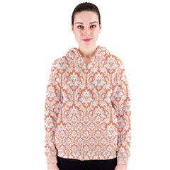 White On Orange Damask Women s Zipper Hoodie by Zandiepants