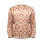 Nectarine Orange Damask Pattern Women s Sweatshirt