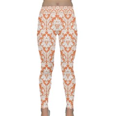Nectarine Orange Damask Pattern Yoga Leggings  by Zandiepants