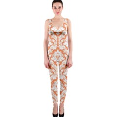 White On Orange Damask Onepiece Catsuit by Zandiepants