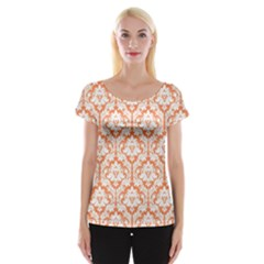 Nectarine Orange Damask Pattern Women s Cap Sleeve Top by Zandiepants
