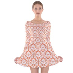 Nectarine Orange Damask Pattern Long Sleeve Velvet Skater Dress by Zandiepants