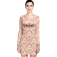 Nectarine Orange Damask Pattern Long Sleeve Velvet Bodycon Dress