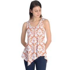 Nectarine Orange Damask Pattern Sleeveless Tunic by Zandiepants