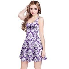 Royal Purple Damask Pattern Reversible Sleeveless Dress by Zandiepants