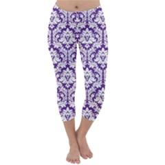 Royal Purple Damask Pattern Capri Winter Leggings