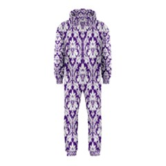 White On Purple Damask Hooded Jumpsuit (kids)