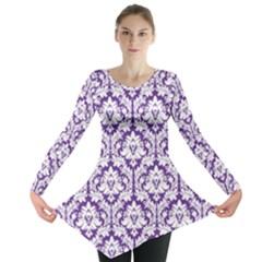 Royal Purple Damask Pattern Long Sleeve Tunic  by Zandiepants