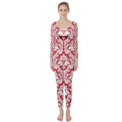 White On Red Damask Long Sleeve Catsuit by Zandiepants