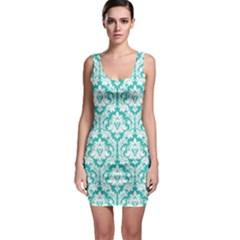 Turquoise Damask Pattern Bodycon Dress by Zandiepants