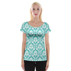 Turquoise Damask Pattern Women s Cap Sleeve Top by Zandiepants