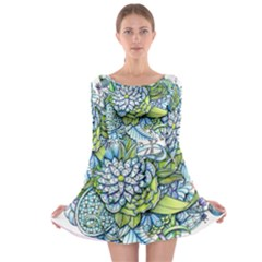Peaceful Flower Garden Long Sleeve Skater Dress by Zandiepants