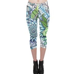 Peaceful Flower Garden 2 Capri Leggings  by Zandiepants
