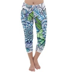 Peaceful Flower Garden 2 Capri Winter Leggings  by Zandiepants