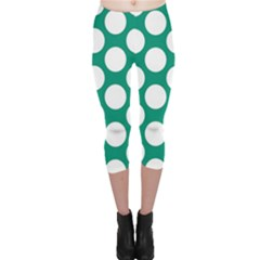 Emerald Green Polkadot Capri Leggings  by Zandiepants
