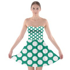 Emerald Green Polkadot Strapless Dresses by Zandiepants