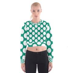 Emerald Green Polkadot Women s Cropped Sweatshirt
