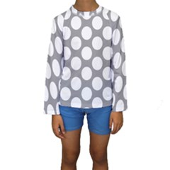 Grey Polkadot Kid s Long Sleeve Swimwear by Zandiepants