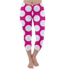 Pink Polkadot Capri Winter Leggings  by Zandiepants