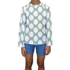 Jade Green Polkadot Kid s Long Sleeve Swimwear by Zandiepants