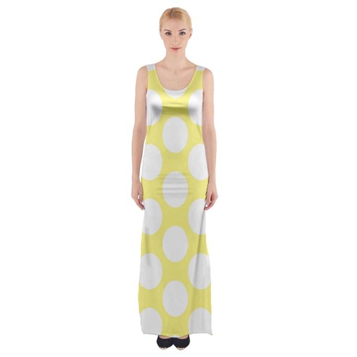 Yellow Polkadot Maxi Thigh Split Dress