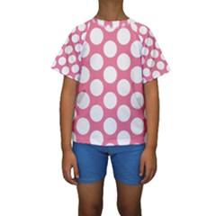 Pink Polkadot Kid s Short Sleeve Swimwear