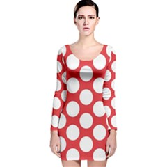Red Polkadot Long Sleeve Velvet Bodycon Dress
