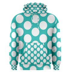 Turquoise Polkadot Pattern Men s Pullover Hoodie by Zandiepants