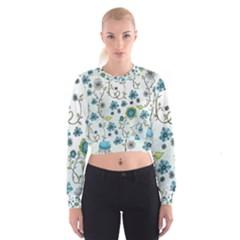 Blue Whimsical Flowers  On Blue Women s Cropped Sweatshirt by Zandiepants