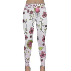 Pink whimsical flowers on pink Yoga Leggings by Zandiepants