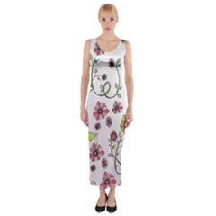 Pink Whimsical Flowers On Pink Fitted Maxi Dress by Zandiepants