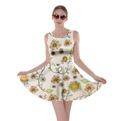 Yellow Whimsical Flowers  Skater Dress by Zandiepants