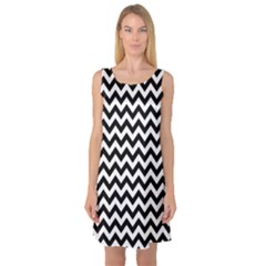 Black And White Zigzag Sleeveless Satin Nightdress by Zandiepants