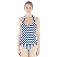 Dark Blue And White Zigzag Women s Halter One Piece Swimsuit by Zandiepants