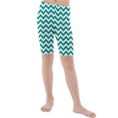 Emerald Green And White Zigzag Kid s Mid Length Swim Shorts by Zandiepants