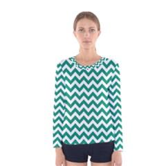 Emerald Green And White Zigzag Women s Long Sleeve Tee by Zandiepants