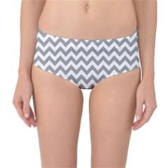 Grey And White Zigzag Mid Waist Bikini Bottoms