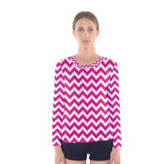 Hot Pink And White Zigzag Women s Long Sleeve Tee by Zandiepants