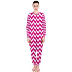 Hot Pink And White Zigzag Onepiece Jumpsuit (ladies)  by Zandiepants