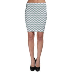 Jade Green And White Zigzag Bodycon Skirts by Zandiepants