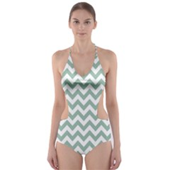 Jade Green And White Zigzag Cut-Out One Piece Swimsuit by Zandiepants