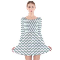 Jade Green And White Zigzag Long Sleeve Velvet Skater Dress by Zandiepants